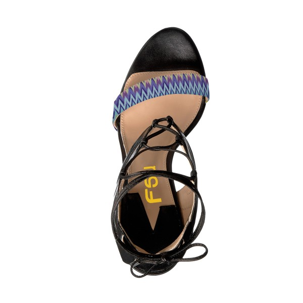 Women's Black and Blue Strappy Open Toe Ankle Strap Sandals image 3
