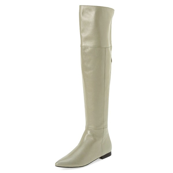 Light Grey Flat Thigh High Boots Pointy Toe Long Boots by FSJ image 1