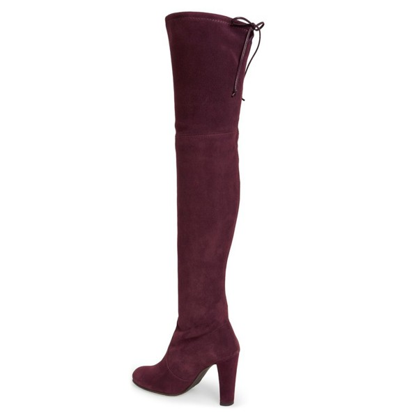 Women's Suede Burgundy Chunky Heel Boots Round Toe Thigh-high Boots image 2