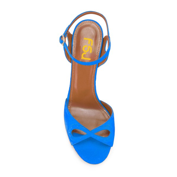 Women's Blue Heels Ankle Strap Chunky Heel Sandals Shoes image 3