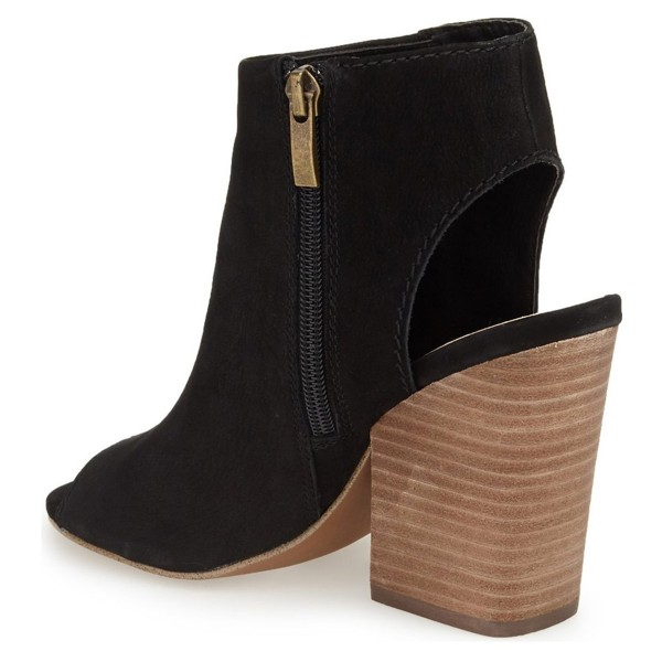 Black Slingback Summer Boots  Suede Chunky Heel Vintage Ankle Boots image 3