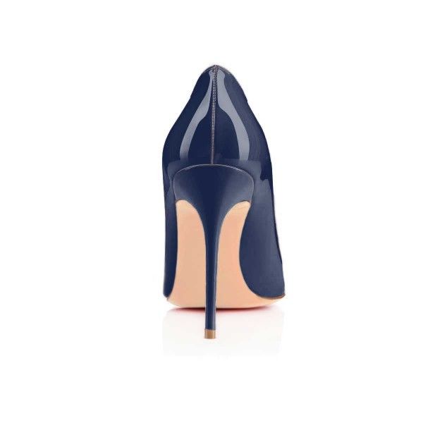 Navy Blue Patent Leather High Heels Pointy Toe Office Shoes image 3