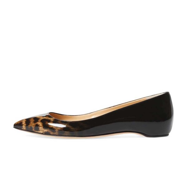 Women's Leopard Print Flats Comfortable Shoes Pointy Toe Flats image 3
