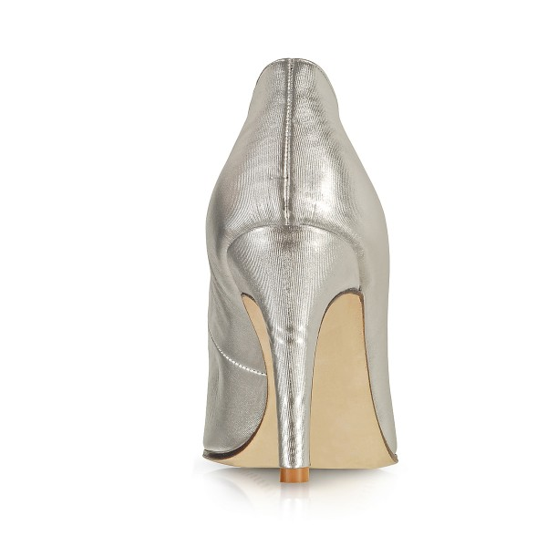 Women's Silver Pointed Toe Stiletto Heels Formal Evening shoes image 3