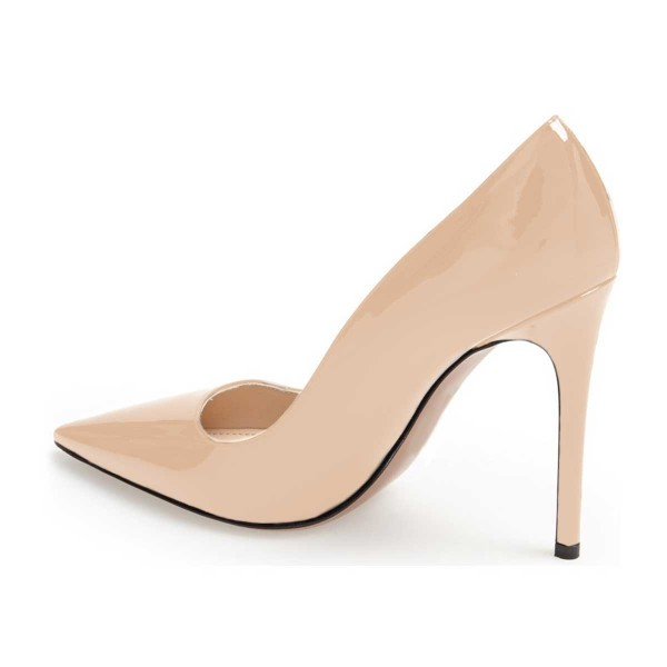 On Sale Nude Stiletto Heels Patent Leather Pointy Toe Dressy Pumps image 2