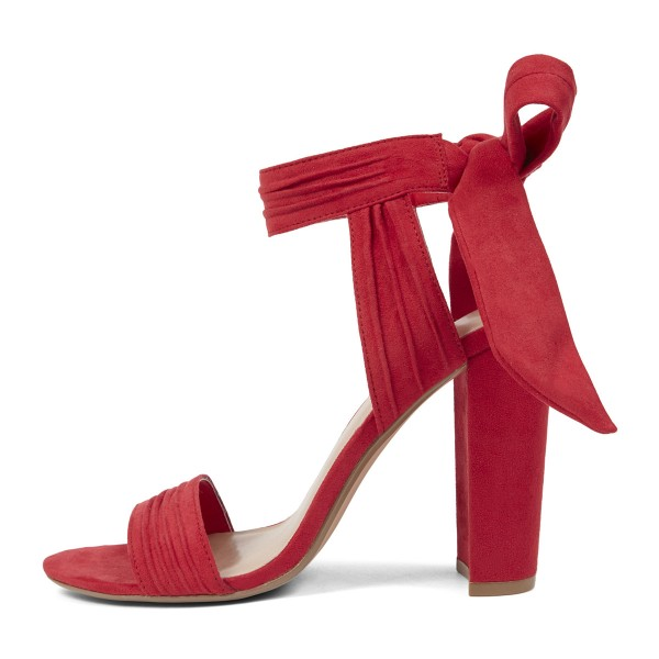 Red Block Heel Sandals Suede Prom Shoes image 4