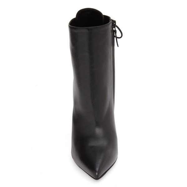 Black Stiletto Boots Pointy Toe Back Lace up Booties with Silver Studs image 3