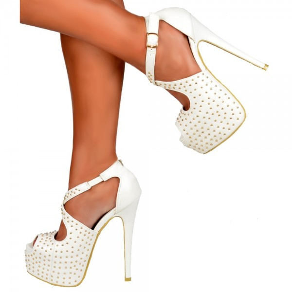 White Stiletto Heels Studs Cross Over Platform Ankle Strap Sandals image 1