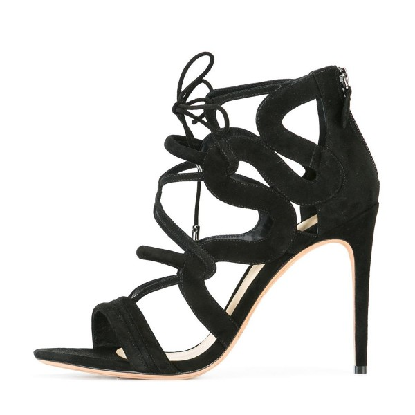 Women's Black Suede Strappy Lace Up Stiletto Heels Sandals image 2