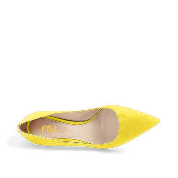On Sale Yellow Kitten Heels Pointy Toe Suede Pumps Office Shoes image 4