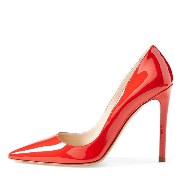 On Sale Red Patent Leather Office Heels Pointy Toe Stiletto Heel Pumps image 3