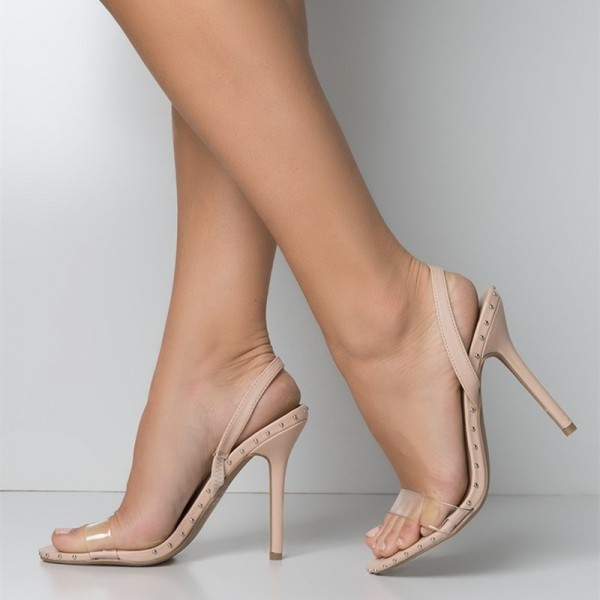Nude and Clear Slingback Heels Open Toe Stiletto Heel Studs Shoes  image 1