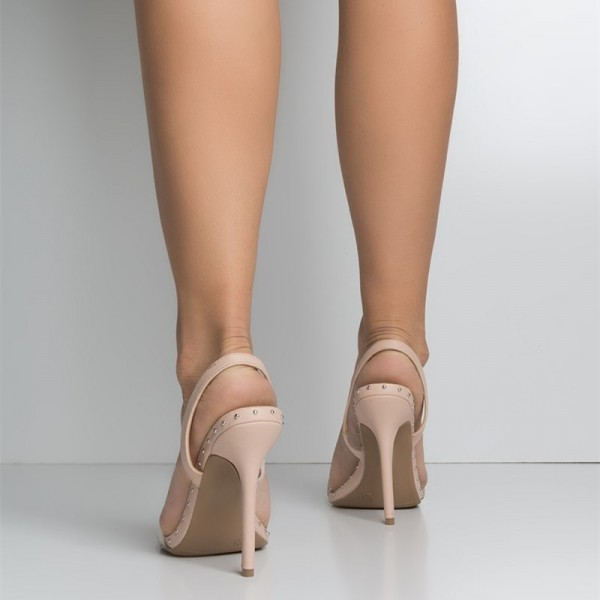 Nude and Clear Slingback Heels Open Toe Stiletto Heel Studs Shoes  image 2