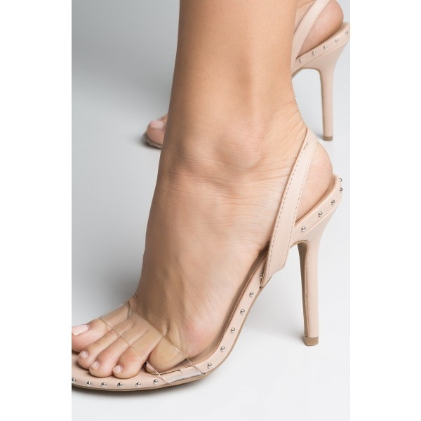 Nude and Clear Slingback Heels Open Toe Stiletto Heel Studs Shoes  image 4