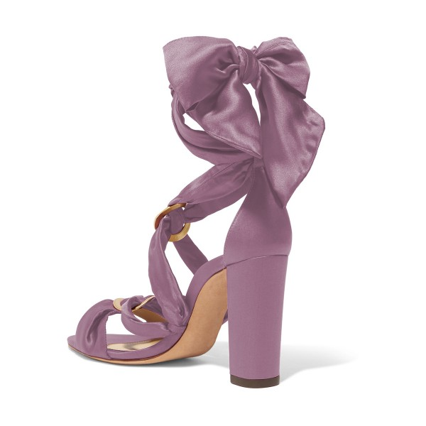 Women's Violet Bow Chunky Heel Strappy Sandals image 2