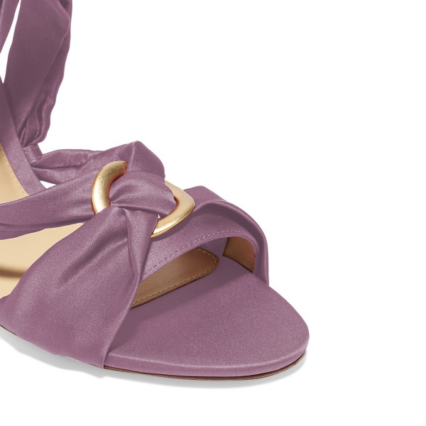 Women's Violet Bow Chunky Heel Strappy Sandals image 3