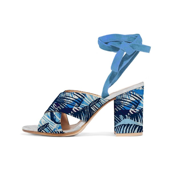 Blue Floral Block Heel Sandals Peep Toe Ankle Strappy Sandals image 1