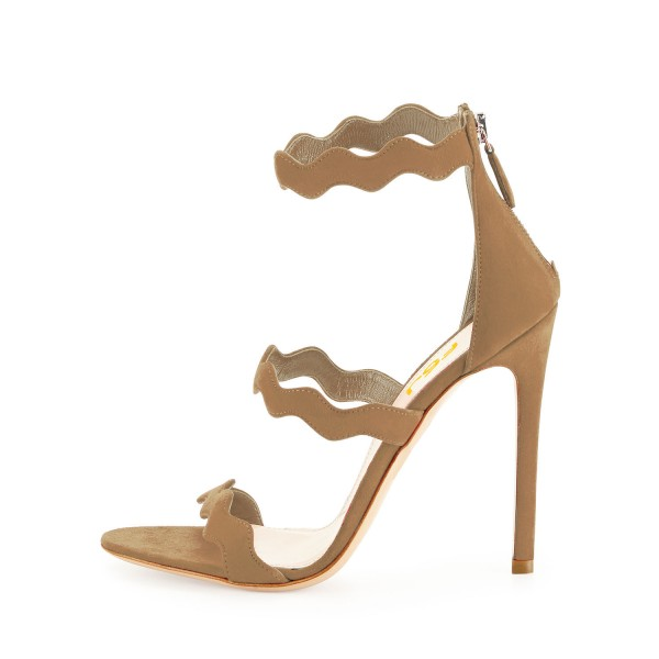 Khaki Suede Waves Pattern Tri Strap Stiletto Heels Zip Strappy Sandals image 2
