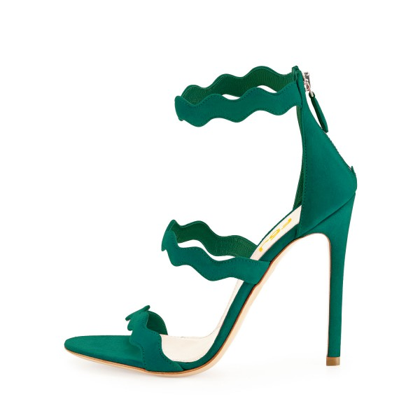 Green 5 Inches Stiletto Heels Open Toe Suede Sandals by FSJ image 2
