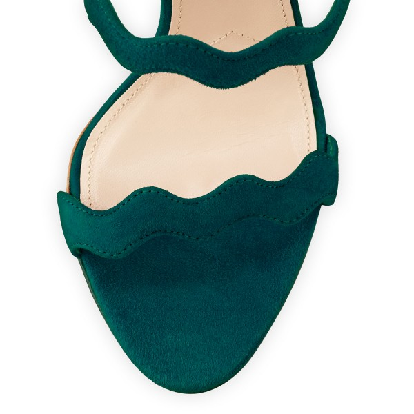 Green 5 Inches Stiletto Heels Open Toe Suede Sandals by FSJ image 3