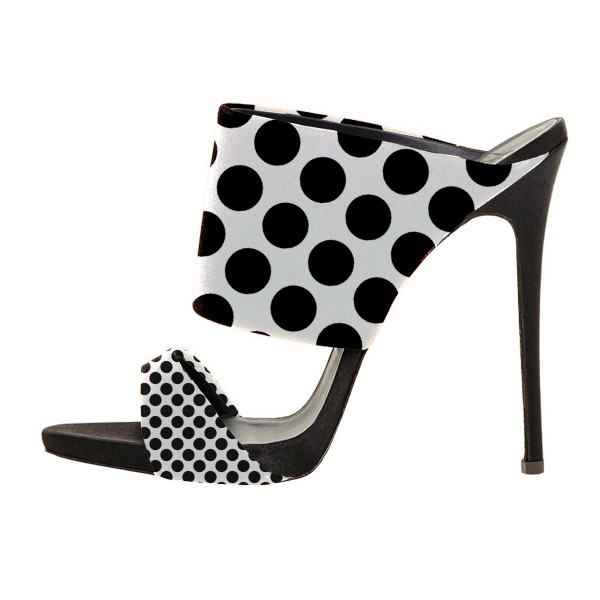 Women's Black and White Stiletto Heels Mule Polka Dots Slippers image 1