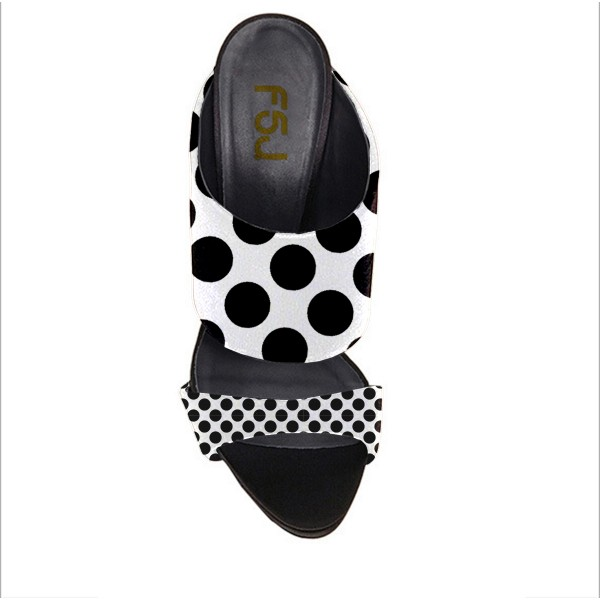 Women's Black and White Stiletto Heels Mule Polka Dots Slippers image 2