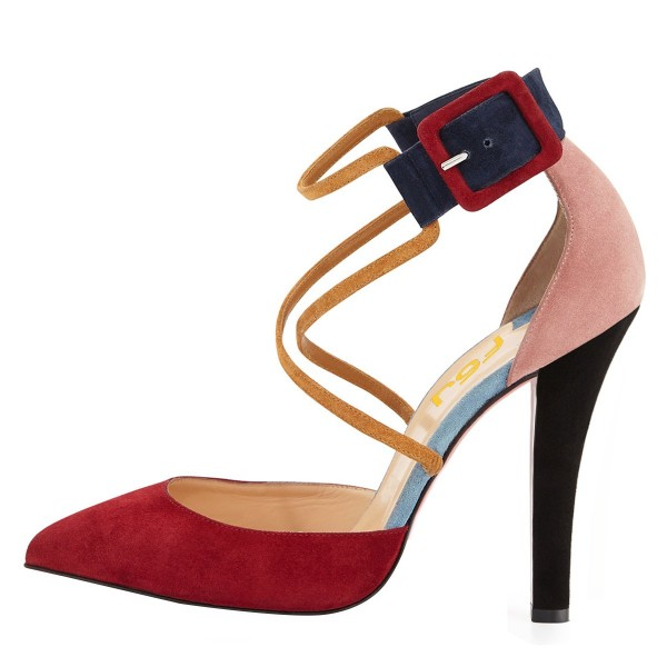 Red and Pink Suede Crossed-over Strap Chunky Heel Pumps image 2