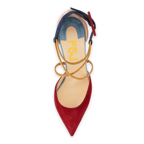 Red and Pink Suede Crossed-over Strap Chunky Heel Pumps image 3