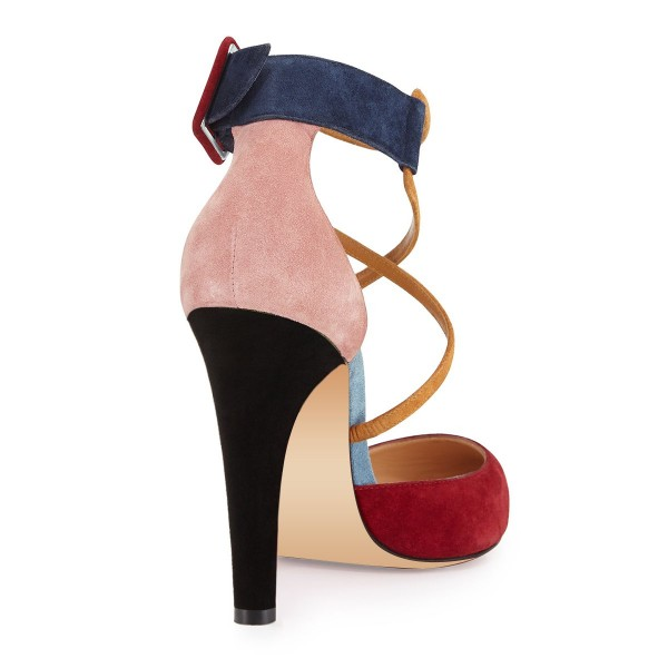 Red and Pink Suede Crossed-over Strap Chunky Heel Pumps image 4