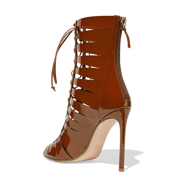 Tan Patent Leather Gladiator Heels Peep Toe Lace up Stiletto Heels image 2