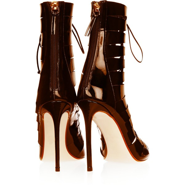 Tan Patent Leather Gladiator Heels Peep Toe Lace up Stiletto Heels image 4
