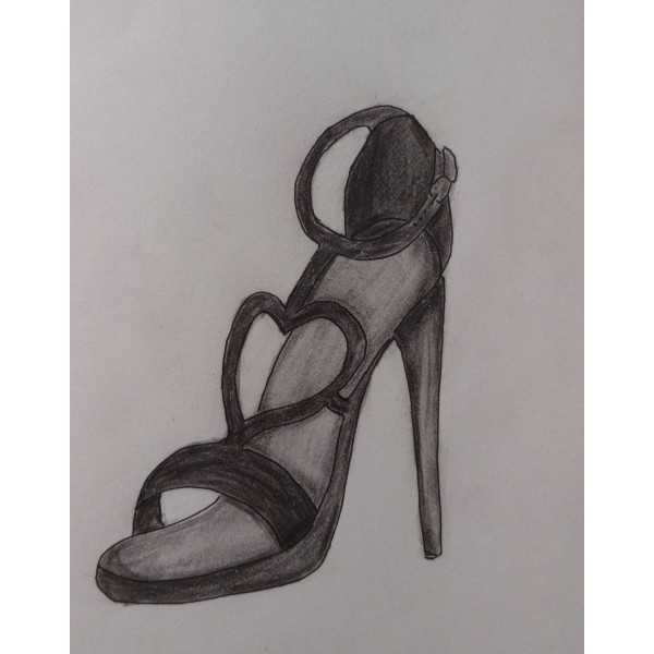 heart shape cut out black heels image 1