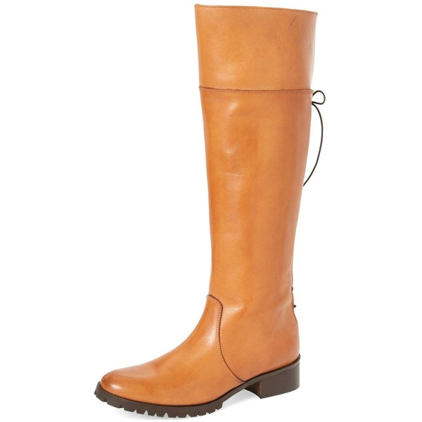 Tan Knee Boots Round Toe Flat Riding Boots image 1