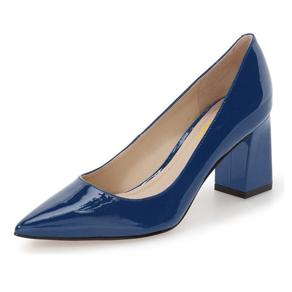 FSJ Navy Pointy Toe Block Heels Patent Leather Office Pumps image 1