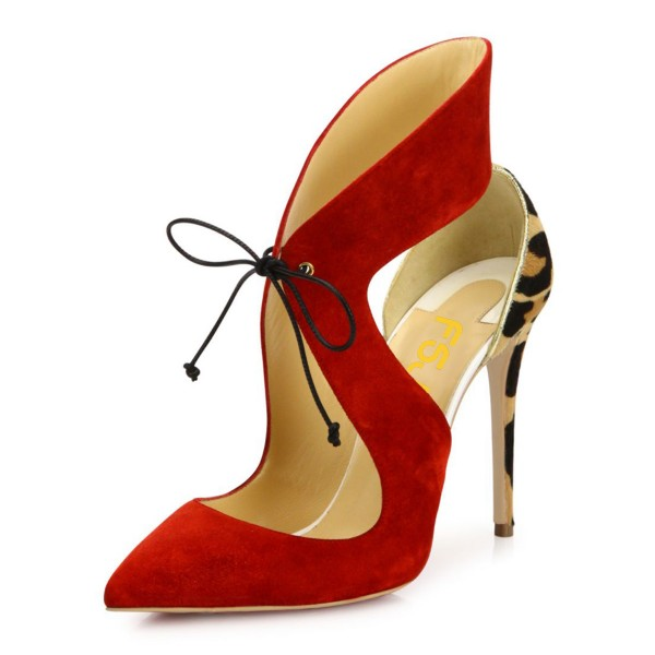 Red Lace up Heels Leopard Print Suede Pumps Stiletto Heels image 1