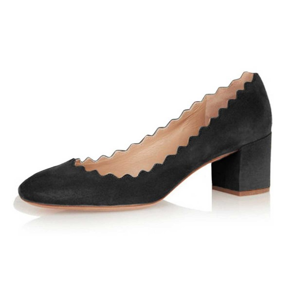 Black Curve Chunky Heels Comfortable Flats Almond Toe Commuting Shoes image 1