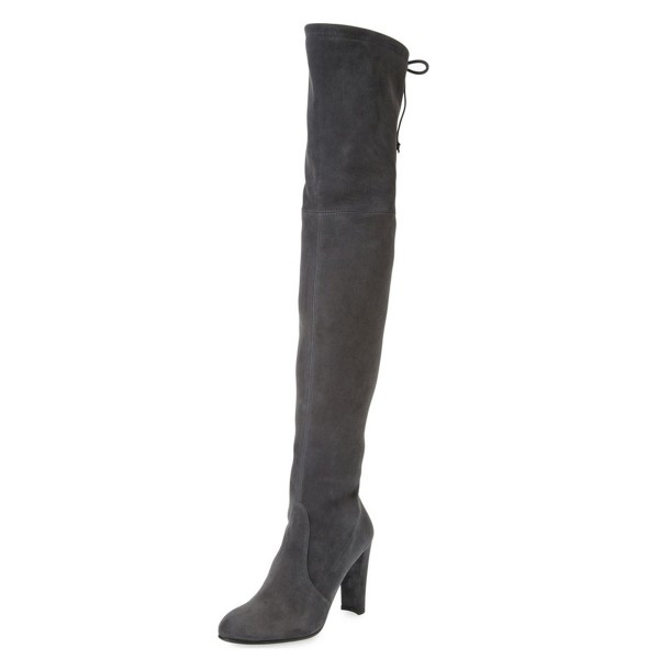 Dark Grey Long Boots Chunky Heel Thigh-high Boots for Women image 1