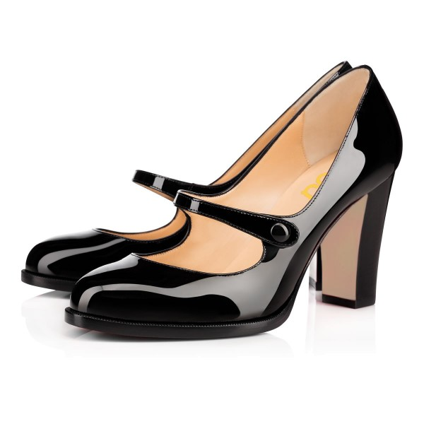 Black Mary Jane Pumps Patent Leather Chunky Heel Vintage Shoes image 1