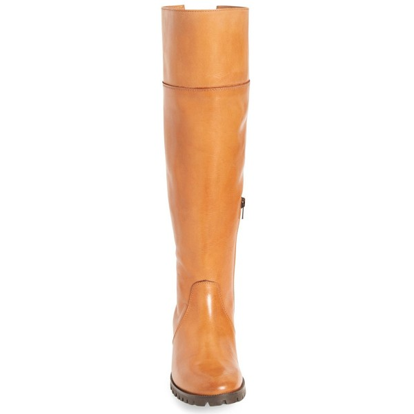 Tan Knee Boots Round Toe Flat Riding Boots image 3