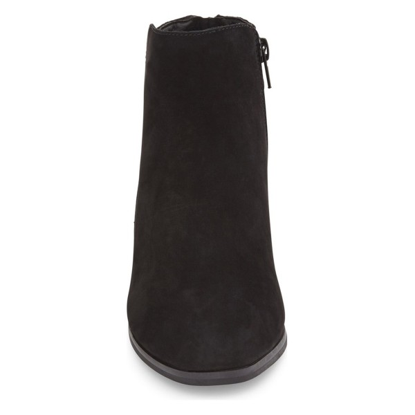 Black Chunky Heel Boots Suede Boots Round Toe Ankle Booties image 3