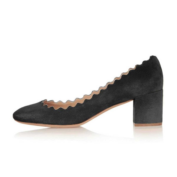 Black Curve Chunky Heels Comfortable Flats Almond Toe Commuting Shoes image 2