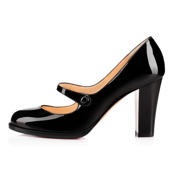 Black Mary Jane Pumps Patent Leather Chunky Heel Vintage Shoes image 3