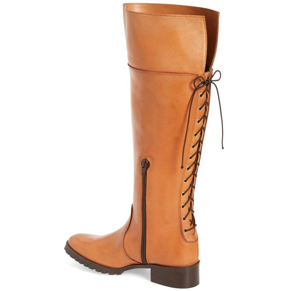Tan Knee Boots Round Toe Flat Riding Boots image 2
