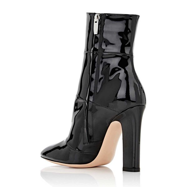 Black Chunky Heel Boots Patent Leather Pointy Toe Ankle Booties image 2