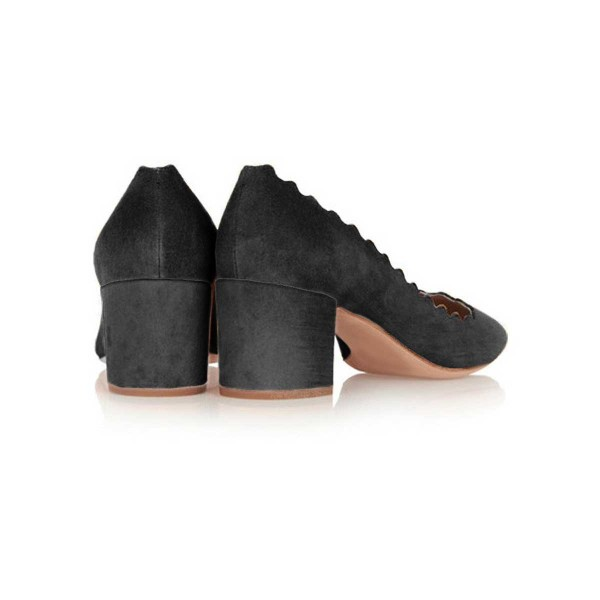 Black Curve Chunky Heels Comfortable Flats Almond Toe Commuting Shoes image 3