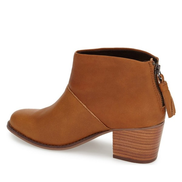 Tan Boots Round Toe Wooden Chunky Heel Vintage Ankle Booties image 3