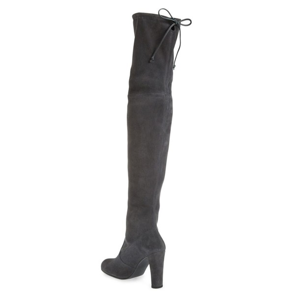 Dark Grey Long Boots Chunky Heel Thigh-high Boots for Women image 3