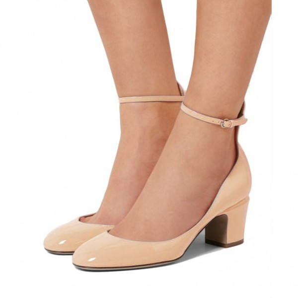 e4bface2106 ... Nude Ankle Strap Heels Round Toe Block Heel Pumps for Ladies image 3 ...