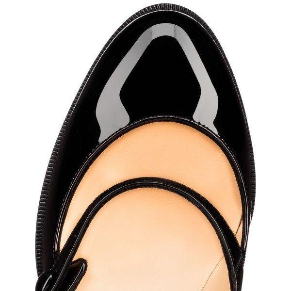 Black Mary Jane Pumps Patent Leather Chunky Heel Vintage Shoes image 4