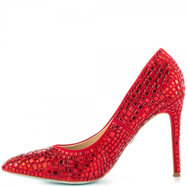 Ariel Red Rhinestone Heels Pointy Toe Pumps for Halloween image 2